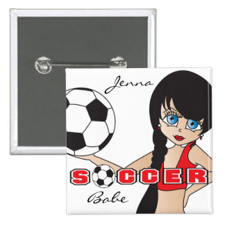 Soccer Ball Sports Girl | Red Pinback Button