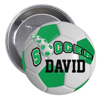 Soccer Ball Sports   Green Pinback Button