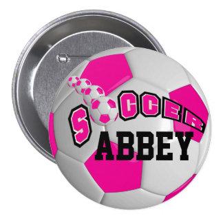 Soccer Ball Sports   Hot Pink Pinback Button
