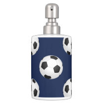 Soccer Ball Sports Pattern Soap Dispenser And Toothbrush Holder