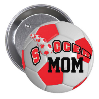 Soccer Ball Sports   Red Pinback Button