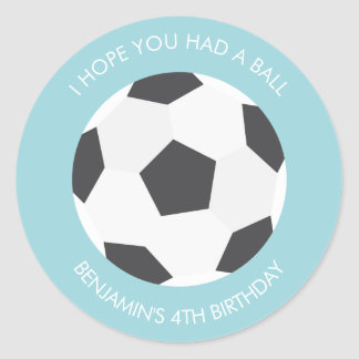 Soccer Ball Sports Themed Birthday Classic Round Sticker