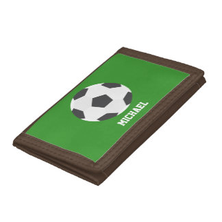 Soccer Ball Sports-Themed Kids Tri-fold Wallets