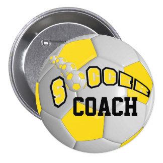 Soccer Ball Sports    Yellow Pinback Button
