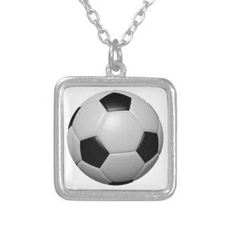 Soccer Ball Square Pendant Necklace