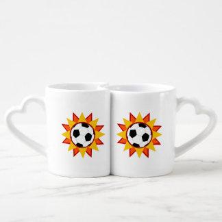 Soccer Ball Sunburst Coffee Mug Set