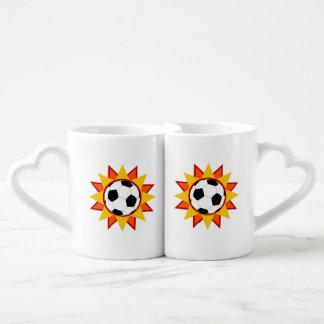 Soccer Ball Sunburst Couples Coffee Mug