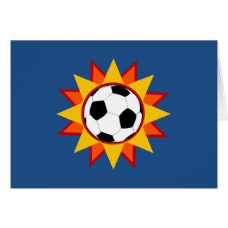 Soccer Ball Sunburst Greeting Card