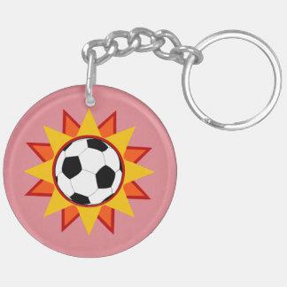 Soccer Ball Sunburst Keychain