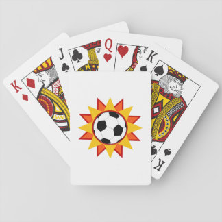 Soccer Ball Sunburst Playing Cards