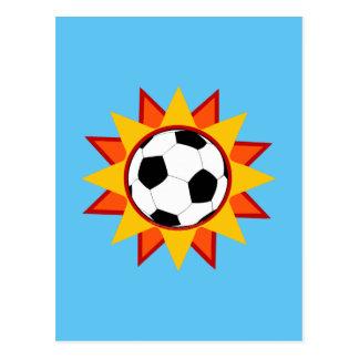 Soccer Ball Sunburst Postcard
