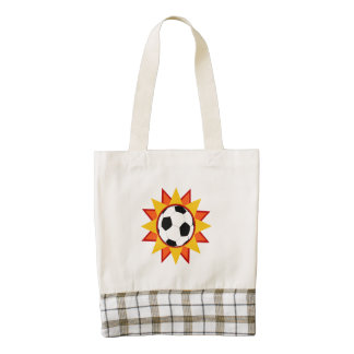 Soccer Ball Sunburst Zazzle HEART Tote Bag