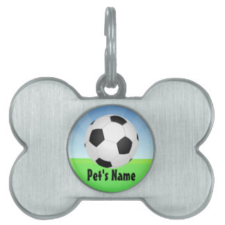 Soccer Ball Sunny Day Pet Name Tag