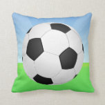 Soccer Ball Sunny Day Throw Pillow
