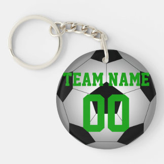 Soccer ball team name number personalized keychain