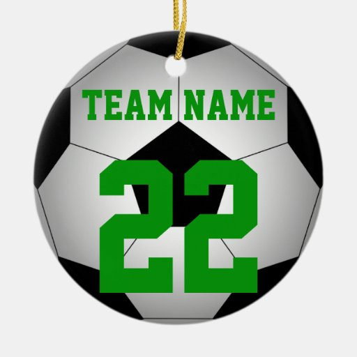 Soccer ball team name personalized Double-sided Ceramic Round Christmas Ornament