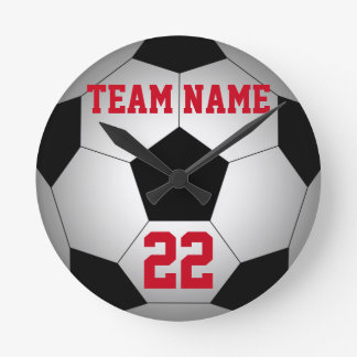 Soccer ball team name personalized round clock