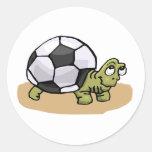 Soccer Ball Turtle Round Sticker