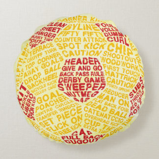 Soccer Ball Typography Calligram Round Pillow
