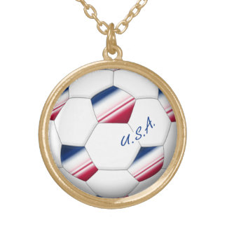"""Soccer ball """"U.S.A."""". Ball of Soccer of the USA Necklace"""