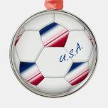 "Soccer ball ""U.S.A."". Balón de Fútbol de E.E.U.U. Adorno Navideño Redondo De Metal"