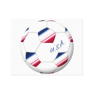 """Soccer ball """"U.S.A."""". Balón de Fútbol de E.E.U.U. Lienzo Envuelto Para Galerías"""