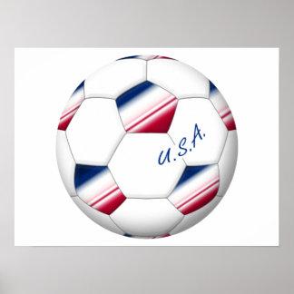 "Soccer ball ""U.S.A."". Balón de Fútbol de E.E.U.U. Poster"