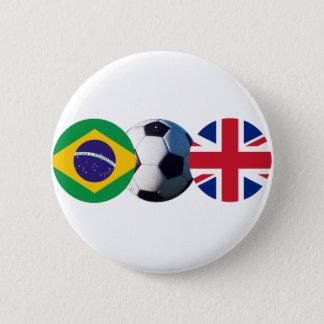 Soccer Ball UK & Brazil Flags jGibney The MUSEUM Button