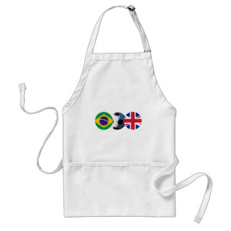 Soccer Ball UK & Brazil Flags The MUSEUM Zazzle Adult Apron