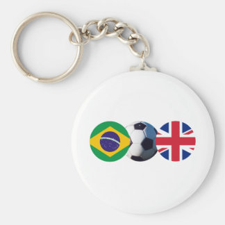 Soccer Ball UK & Brazil Flags The MUSEUM Zazzle Basic Round Button Keychain