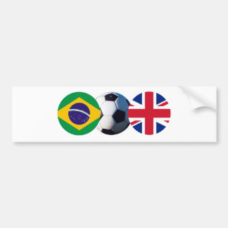 Soccer Ball UK & Brazil Flags The MUSEUM Zazzle Bumper Sticker