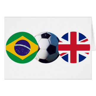 Soccer Ball UK & Brazil Flags The MUSEUM Zazzle Card