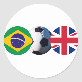 Soccer Ball UK & Brazil Flags The MUSEUM Zazzle Classic Round Sticker