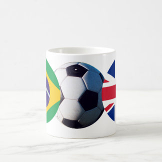 Soccer Ball UK & Brazil Flags The MUSEUM Zazzle Coffee Mug