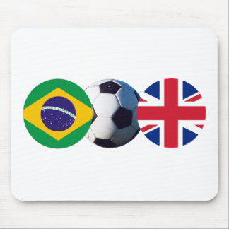 Soccer Ball UK & Brazil Flags The MUSEUM Zazzle Mouse Pad