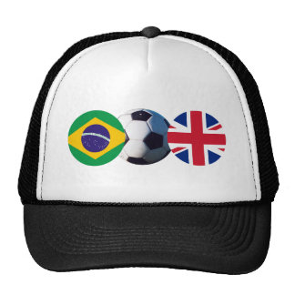Soccer Ball UK & Brazil Flags The MUSEUM Zazzle Trucker Hat