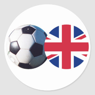 Soccer Ball & UK Flag The MUSEUM Zazzle Classic Round Sticker