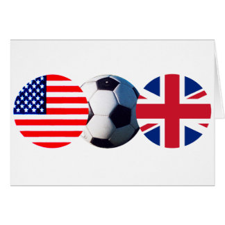 Soccer Ball UK & USA Flags The MUSEUM Zazzle Card