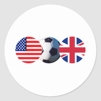 Soccer Ball UK & USA Flags The MUSEUM Zazzle Classic Round Sticker