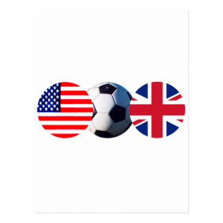Soccer Ball UK & USA Flags The MUSEUM Zazzle Postcard