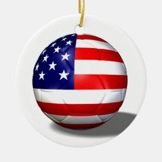 soccer ball usa ceramic ornament