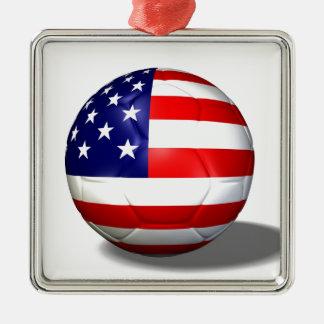 soccer ball usa metal ornament