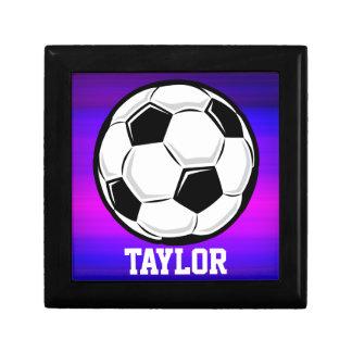 Soccer Ball; Vibrant Violet Blue and Magenta Trinket Box