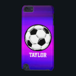 "Soccer Ball; Vibrant Violet Blue and Magenta iPod Touch 5G Cover<br><div class=""desc"">Cool, colorful kid&#39;s soccer ball, football, black and white ball, soccer player, coach, sports design on pink, purple, violet blue, magenta, fuchsia color pattern. Perfect gift for baby, toddler, kids, children, teens, or adults! Personalized the design by adding a child&#39;s name or custom text with athletic, sporty look sports white...</div>"
