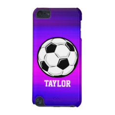 Soccer Ball; Vibrant Violet Blue And Magenta Ipod Touch 5g Cover at Zazzle