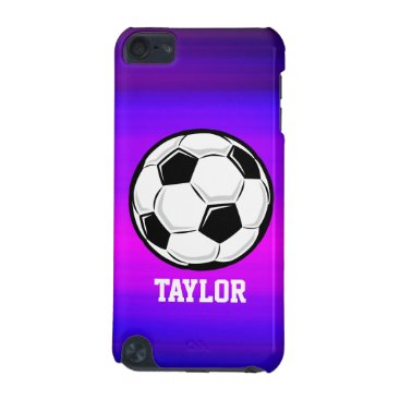 birthday Soccer Ball; Vibrant Violet Blue and Magenta iPod Touch 5G Cover