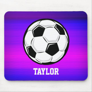 Soccer Ball; Vibrant Violet Blue and Magenta Mouse Pad