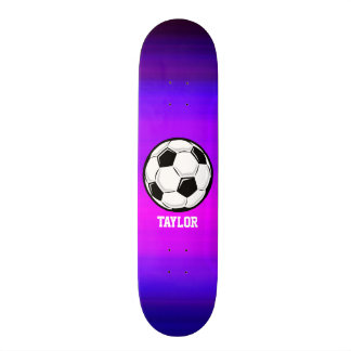 Soccer Ball; Vibrant Violet Blue and Magenta Skateboard
