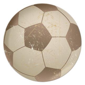 soccer ball vintage melamine plate