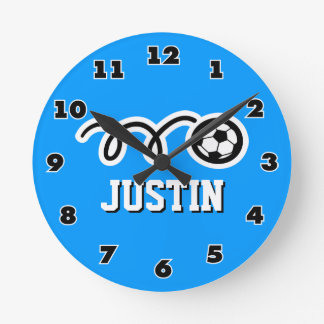 Soccer ball wall clock with name for sporty boys